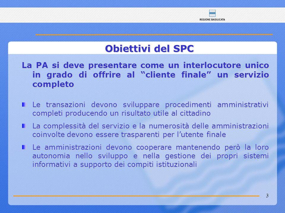 3 Obiettivi del SPC La PA si deve presentare come un interlocutore unico in grado di offrire al cliente finale un servizio completo Le transazioni dev