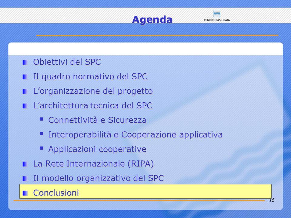 36 Agenda Obiettivi del SPC Il quadro normativo del SPC Lorganizzazione del progetto Larchitettura tecnica del SPC Connettività e Sicurezza Connettivi