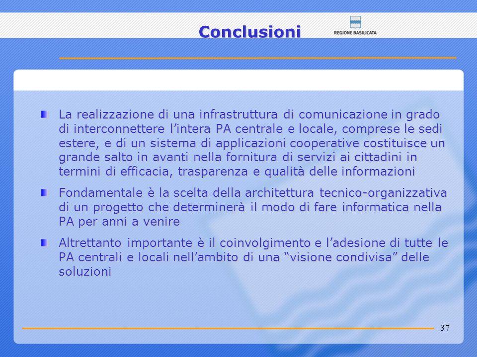 37 Conclusioni La realizzazione di una infrastruttura di comunicazione in grado di interconnettere lintera PA centrale e locale, comprese le sedi este