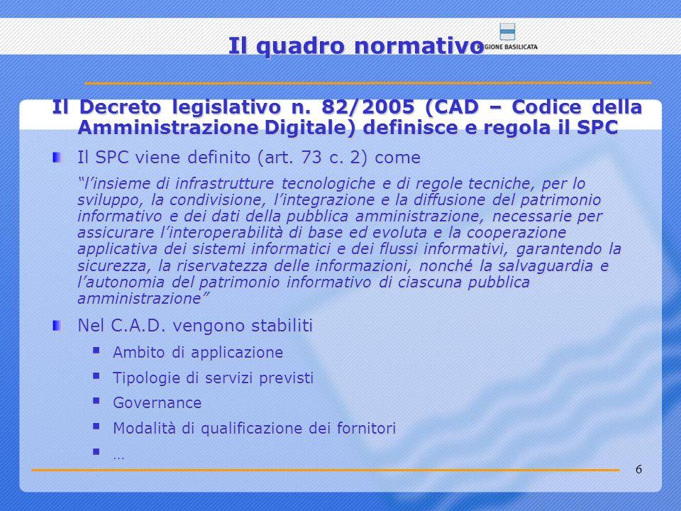 6 Il quadro normativo Il Decreto legislativo n. 82/2005 (CAD – Codice della Amministrazione Digitale) definisce e regola il SPC Il SPC viene definito