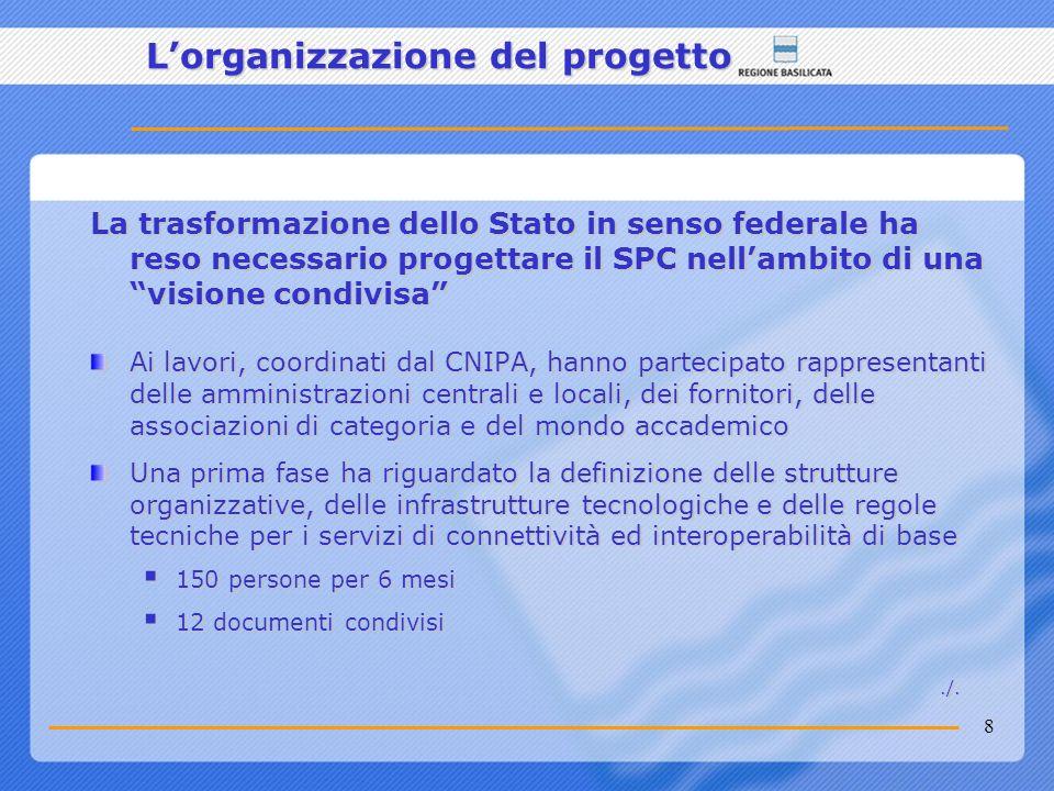 8 La trasformazione dello Stato in senso federale ha reso necessario progettare il SPC nellambito di una visione condivisa Ai lavori, coordinati dal C