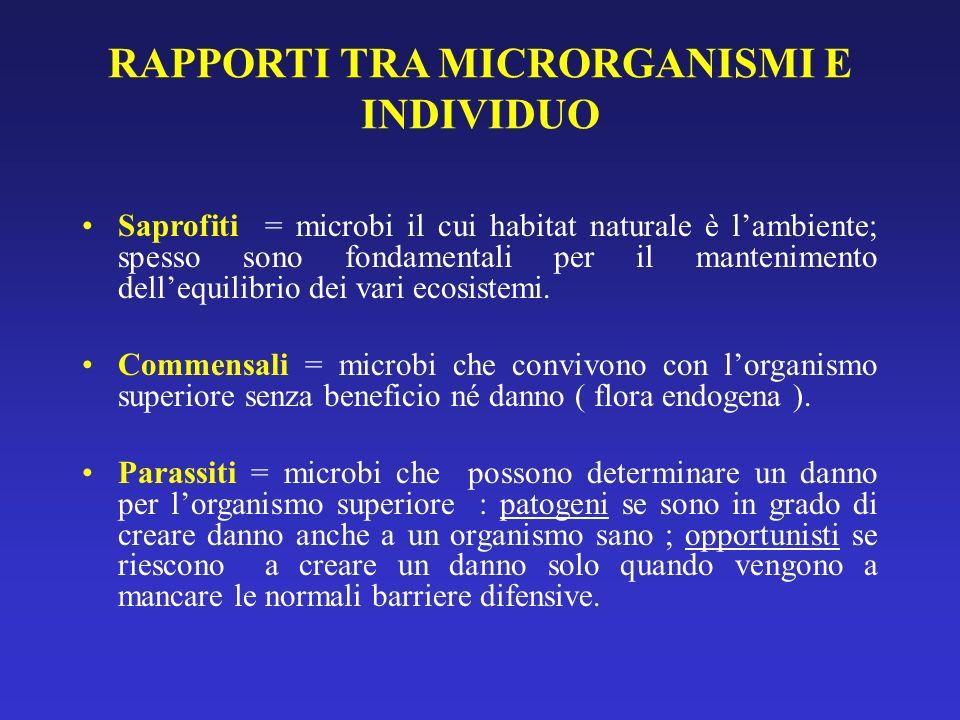 RAPPORTI TRA MICRORGANISMI E INDIVIDUO Saprofiti = microbi il cui habitat naturale è lambiente; spesso sono fondamentali per il mantenimento dellequil