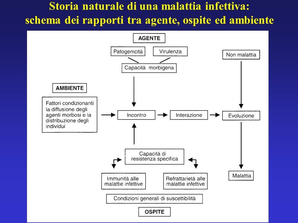 Storia naturale di una malattia infettiva: schema dei rapporti tra agente, ospite ed ambiente