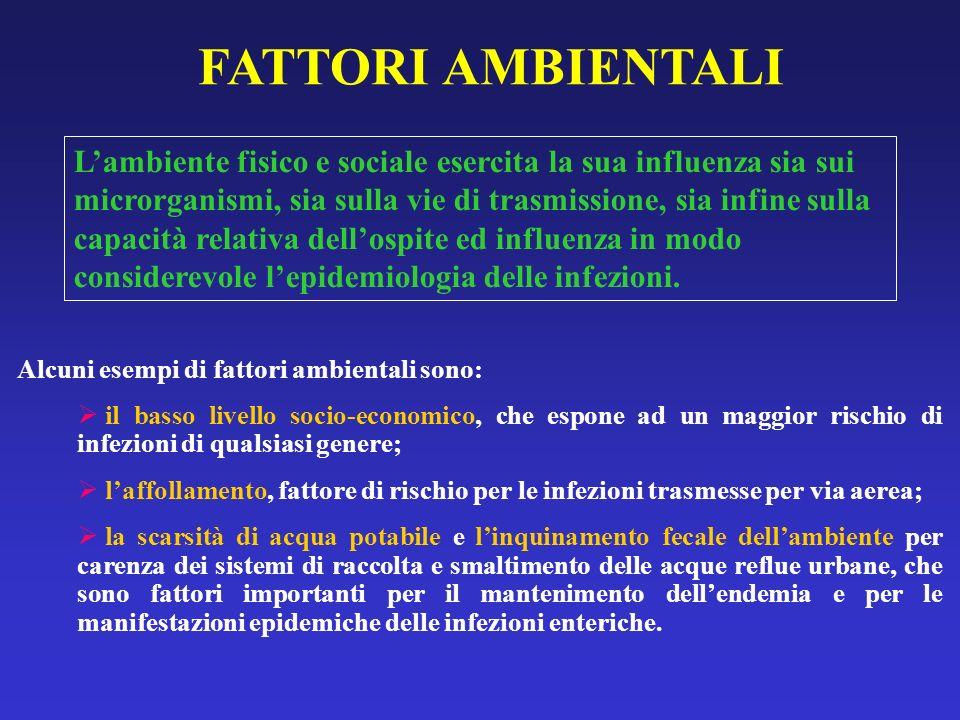 FATTORI AMBIENTALI Alcuni esempi di fattori ambientali sono: il basso livello socio-economico, che espone ad un maggior rischio di infezioni di qualsi