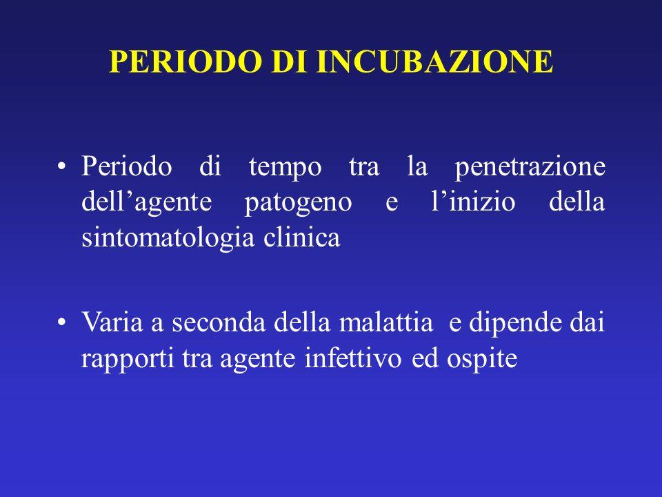 PERIODO DI INCUBAZIONE Periodo di tempo tra la penetrazione dellagente patogeno e linizio della sintomatologia clinica Varia a seconda della malattia