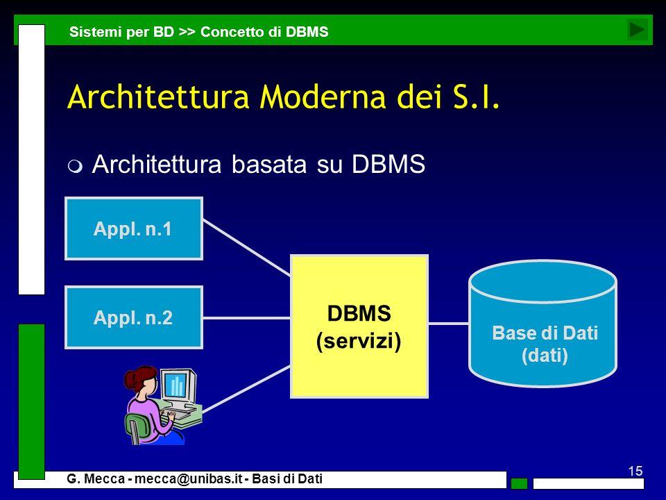 15 G. Mecca - mecca@unibas.it - Basi di Dati Architettura Moderna dei S.I. m Architettura basata su DBMS Appl. n.2 Appl. n.1 Base di Dati (dati) DBMS