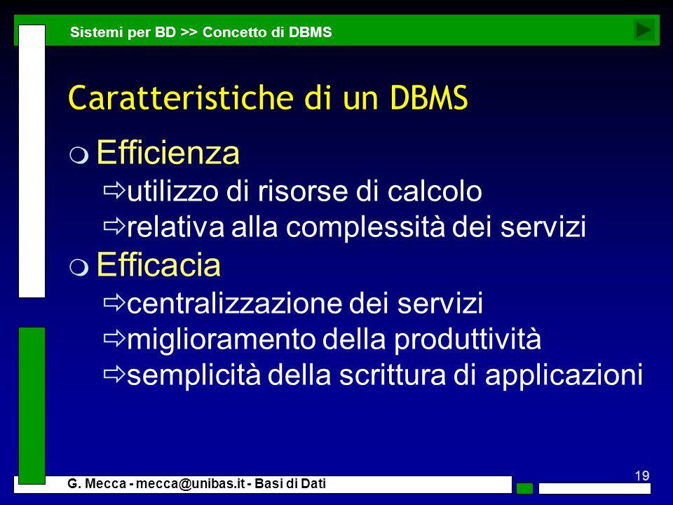 19 G. Mecca - mecca@unibas.it - Basi di Dati Caratteristiche di un DBMS m Efficienza utilizzo di risorse di calcolo relativa alla complessità dei serv