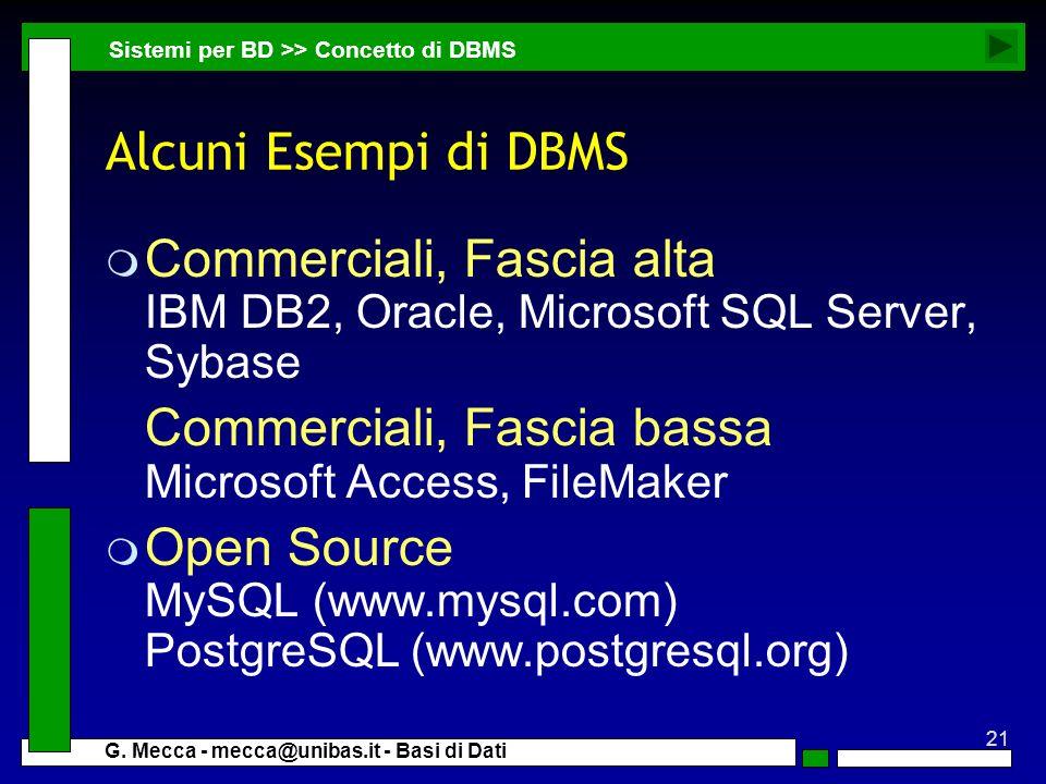 21 G. Mecca - mecca@unibas.it - Basi di Dati Alcuni Esempi di DBMS m Commerciali, Fascia alta IBM DB2, Oracle, Microsoft SQL Server, Sybase Commercial
