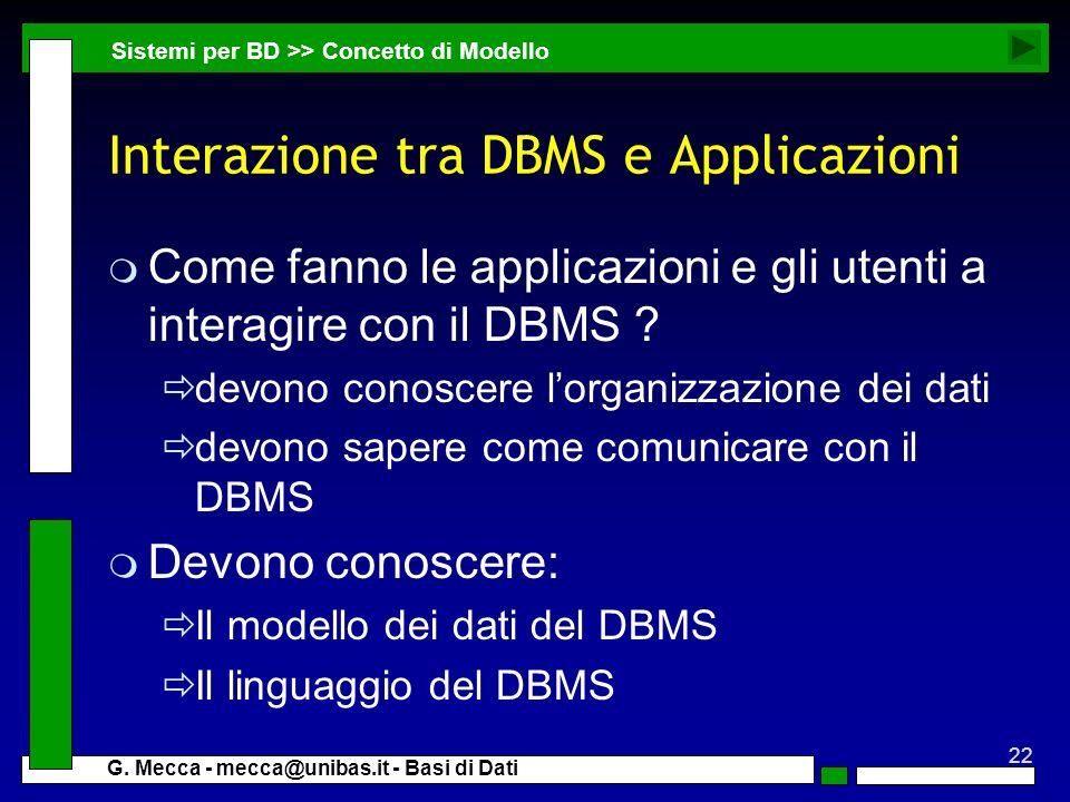 22 G. Mecca - mecca@unibas.it - Basi di Dati Interazione tra DBMS e Applicazioni m Come fanno le applicazioni e gli utenti a interagire con il DBMS ?