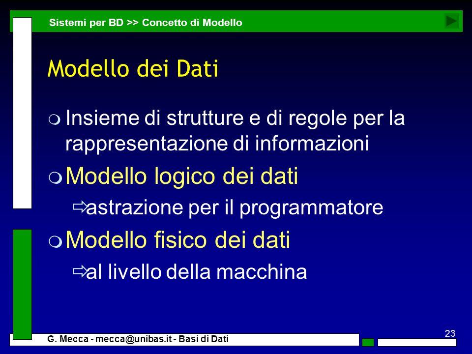 23 G. Mecca - mecca@unibas.it - Basi di Dati Modello dei Dati m Insieme di strutture e di regole per la rappresentazione di informazioni m Modello log