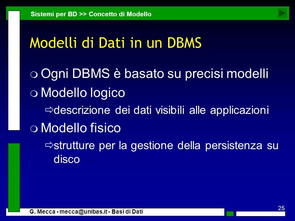 25 G. Mecca - mecca@unibas.it - Basi di Dati Modelli di Dati in un DBMS m Ogni DBMS è basato su precisi modelli m Modello logico descrizione dei dati