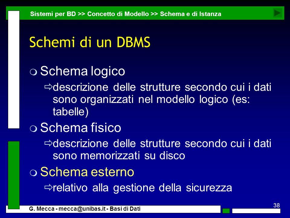 38 G. Mecca - mecca@unibas.it - Basi di Dati Schemi di un DBMS m Schema logico descrizione delle strutture secondo cui i dati sono organizzati nel mod