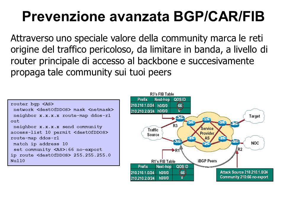 Attraverso uno speciale valore della community marca le reti origine del traffico pericoloso, da limitare in banda, a livello di router principale di