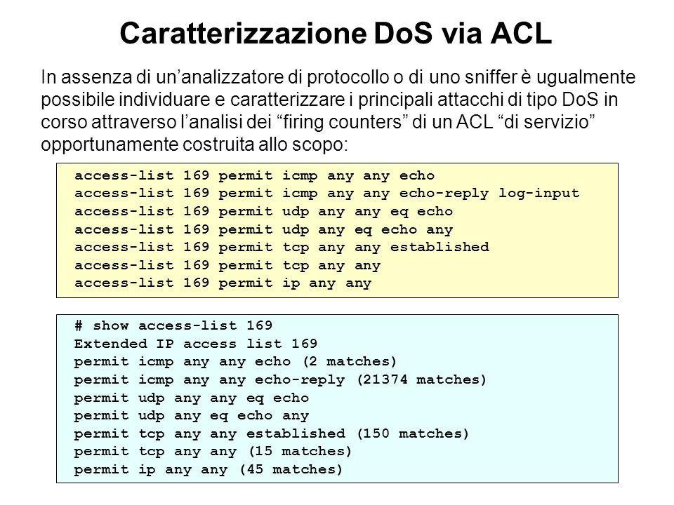 Caratterizzazione DoS via ACL In assenza di unanalizzatore di protocollo o di uno sniffer è ugualmente possibile individuare e caratterizzare i princi