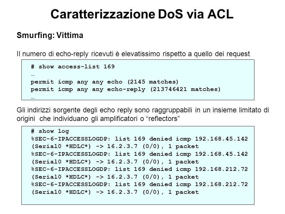 Caratterizzazione DoS via ACL Smurfing: Vittima Il numero di echo-reply ricevuti è elevatissimo rispetto a quello dei request # show access-list 169 …
