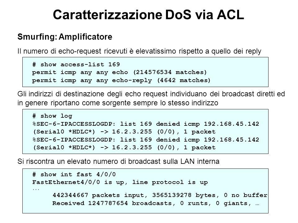 Caratterizzazione DoS via ACL Smurfing: Amplificatore Il numero di echo-request ricevuti è elevatissimo rispetto a quello dei reply # show access-list