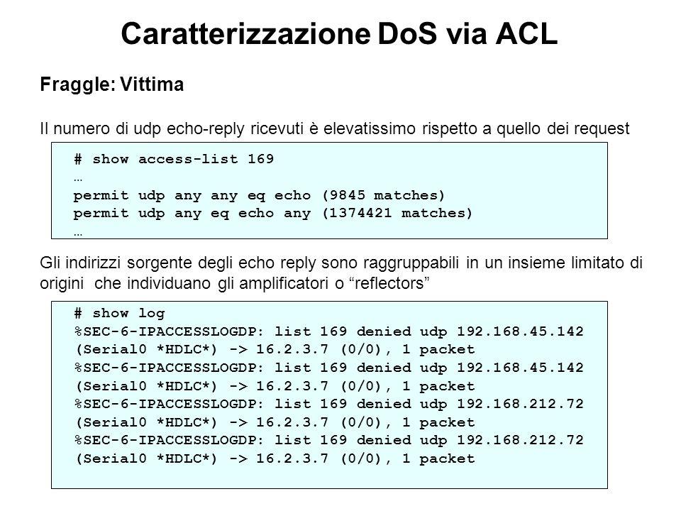 Caratterizzazione DoS via ACL Fraggle: Vittima Il numero di udp echo-reply ricevuti è elevatissimo rispetto a quello dei request # show access-list 16