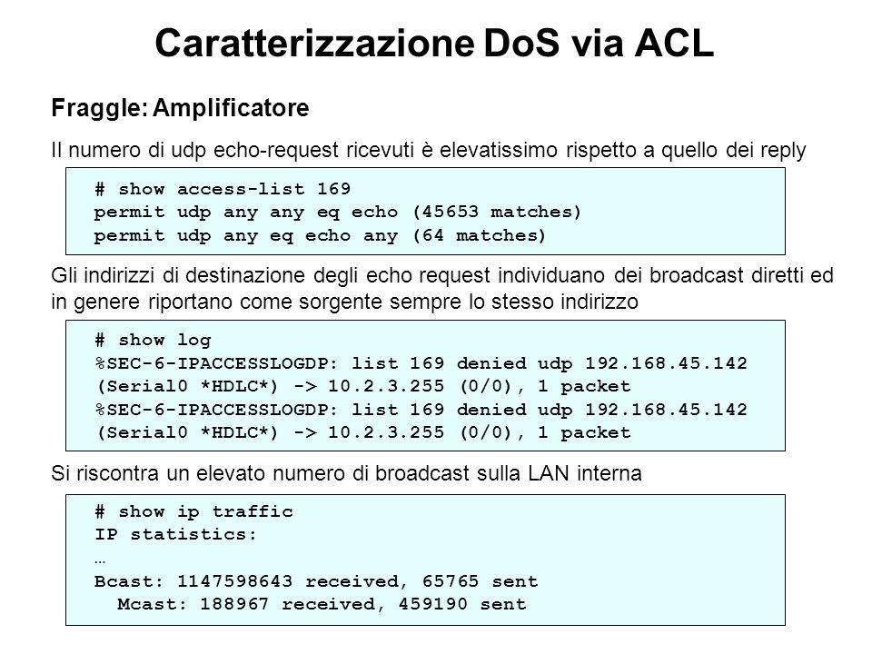 Caratterizzazione DoS via ACL Fraggle: Amplificatore Il numero di udp echo-request ricevuti è elevatissimo rispetto a quello dei reply # show access-l