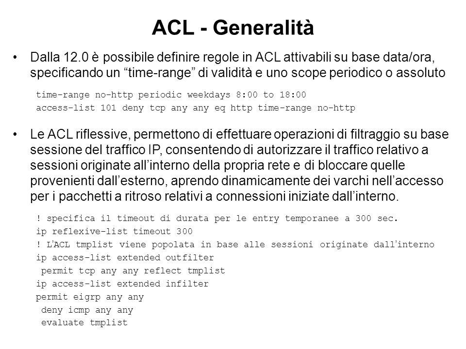 ACL - Generalità Dalla 12.0 è possibile definire regole in ACL attivabili su base data/ora, specificando un time-range di validità e uno scope periodi