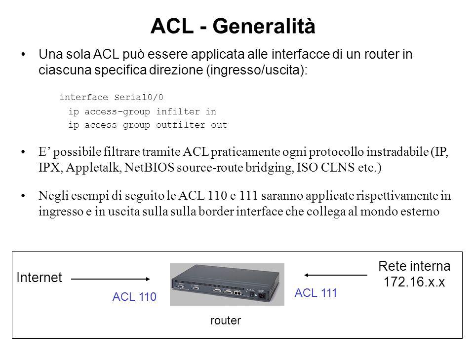 ACL - Generalità Una sola ACL può essere applicata alle interfacce di un router in ciascuna specifica direzione (ingresso/uscita): interface Serial0/0