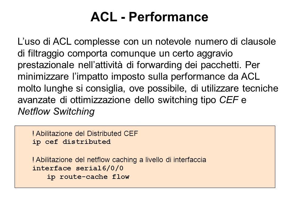 ACL - Performance Luso di ACL complesse con un notevole numero di clausole di filtraggio comporta comunque un certo aggravio prestazionale nellattivit