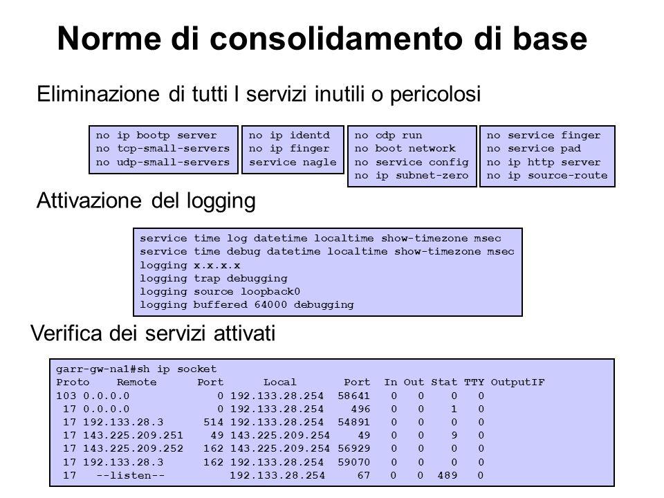 Norme di consolidamento di base Eliminazione di tutti I servizi inutili o pericolosi Attivazione del logging Verifica dei servizi attivati no ip bootp