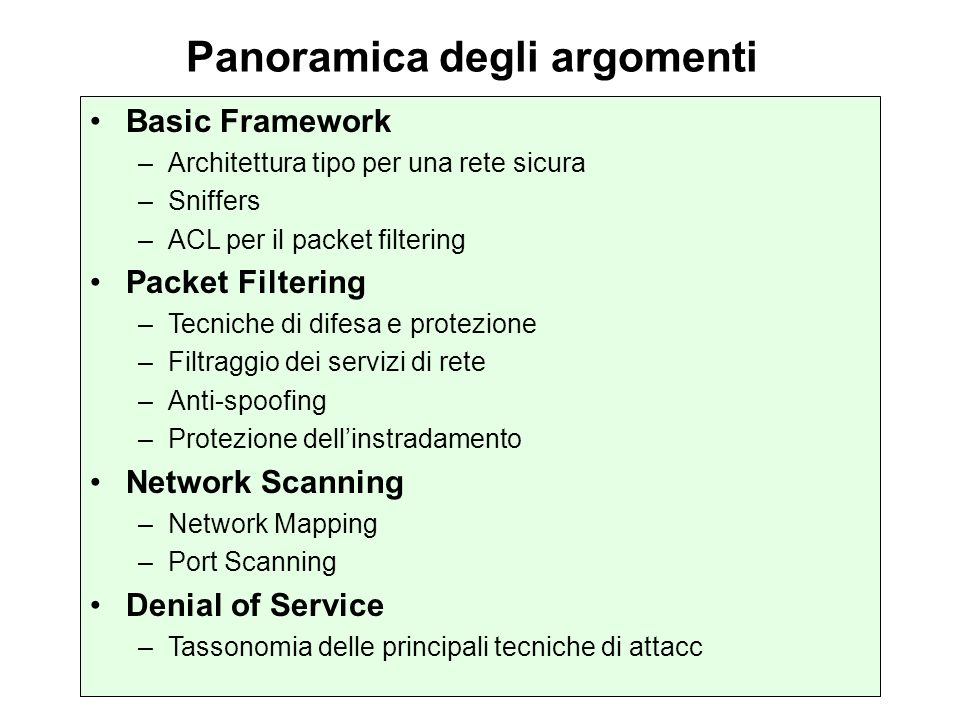 Autenticazione sessioni di routing I protocolli di routing che attualmente offrono il meccanismo della neighbor authentication sono: BGP *EIGRP * DRP SAOSPF * IS-ISRIPv2 * * = Autenticazione non in chiaro (MD5) ISIS consente lautenticazione in chiaro ma su vari livelli interface xy isis password level- router isis log-adjacency-changes domain-password area-password