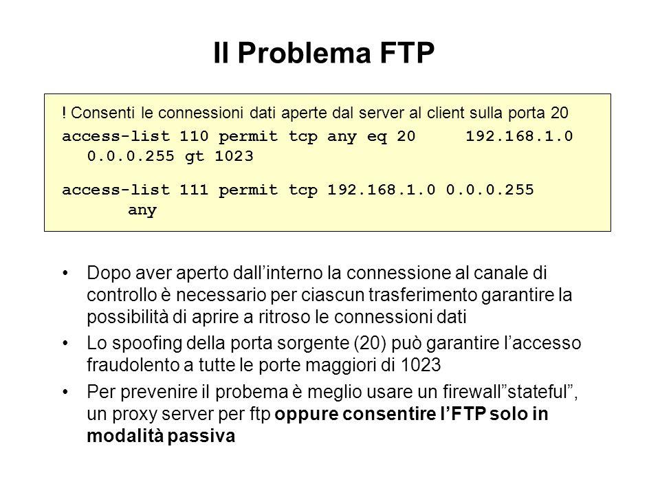 Il Problema FTP ! Consenti le connessioni dati aperte dal server al client sulla porta 20 access-list 110 permit tcp any eq 20 192.168.1.0 0.0.0.255 g