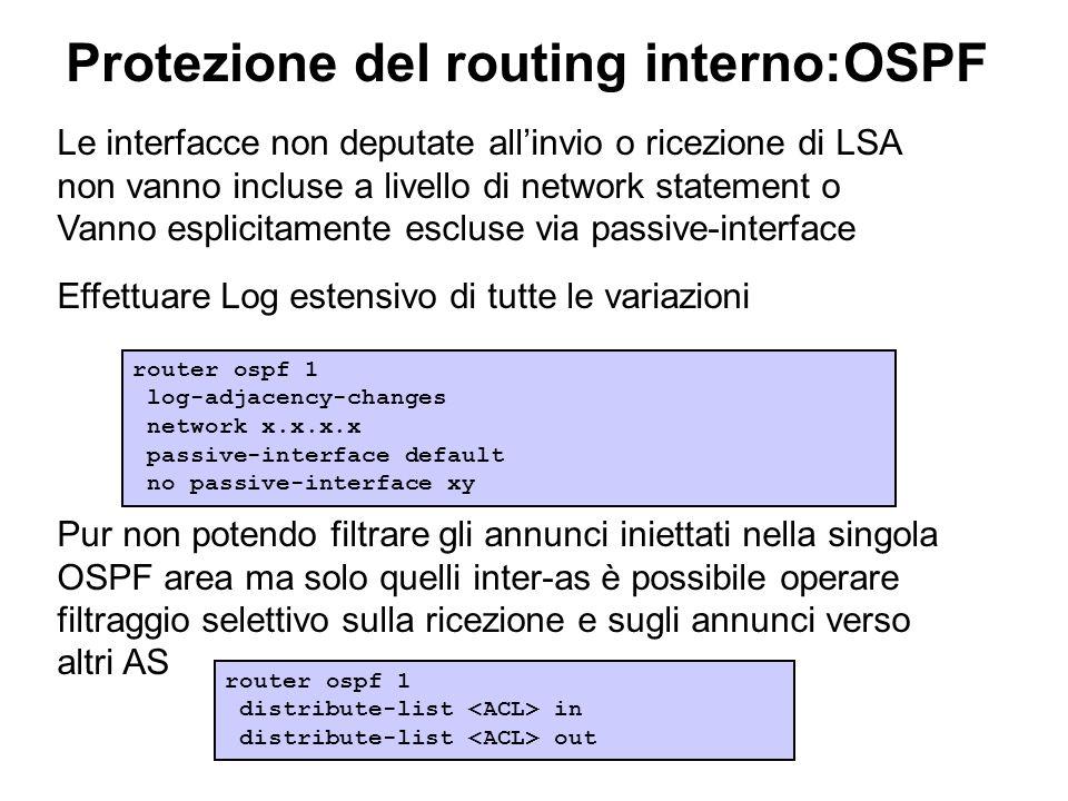Protezione del routing interno:OSPF Le interfacce non deputate allinvio o ricezione di LSA non vanno incluse a livello di network statement o Vanno es