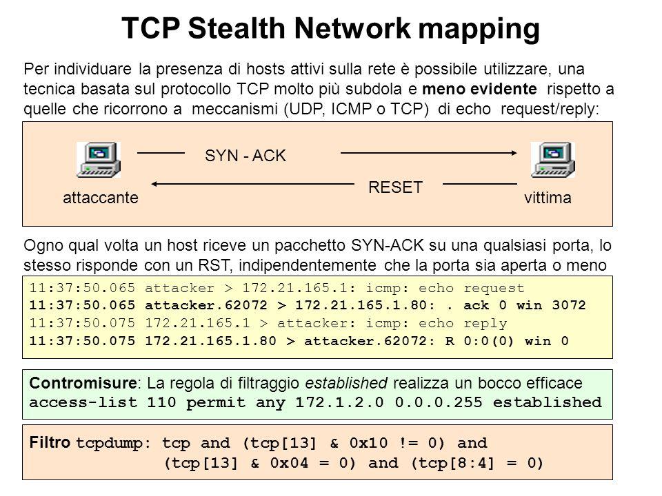 TCP Stealth Network mapping Per individuare la presenza di hosts attivi sulla rete è possibile utilizzare, una tecnica basata sul protocollo TCP molto