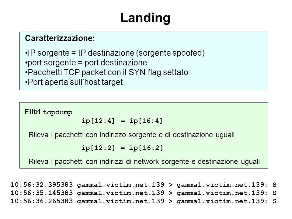 Filtri tcpdump ip[12:4] = ip[16:4] Rileva i pacchetti con indirizzo sorgente e di destinazione uguali ip[12:2] = ip[16:2] Rileva i pacchetti con indir