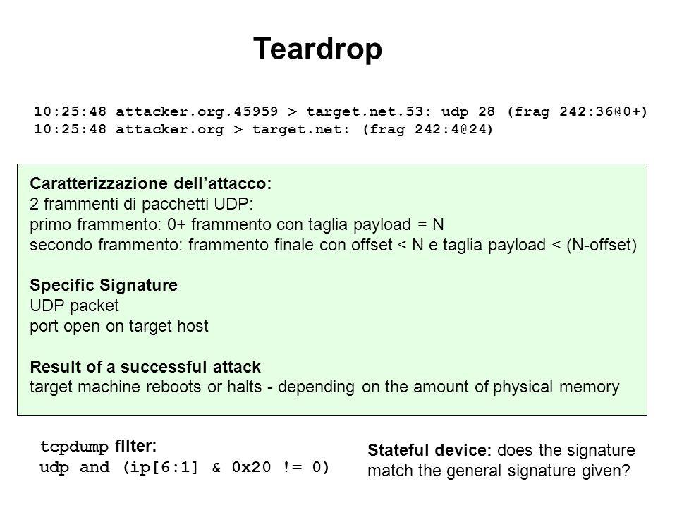 Teardrop tcpdump filter: udp and (ip[6:1] & 0x20 != 0) Caratterizzazione dellattacco: 2 frammenti di pacchetti UDP: primo frammento: 0+ frammento con