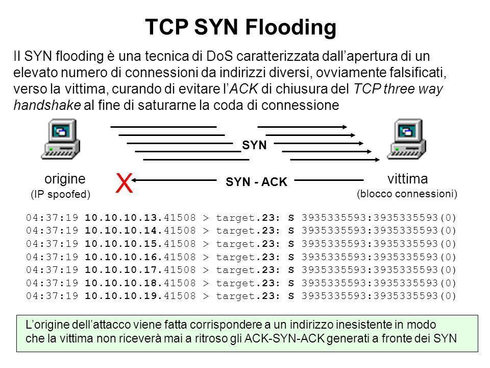 TCP SYN Flooding Il SYN flooding è una tecnica di DoS caratterizzata dallapertura di un elevato numero di connessioni da indirizzi diversi, ovviamente