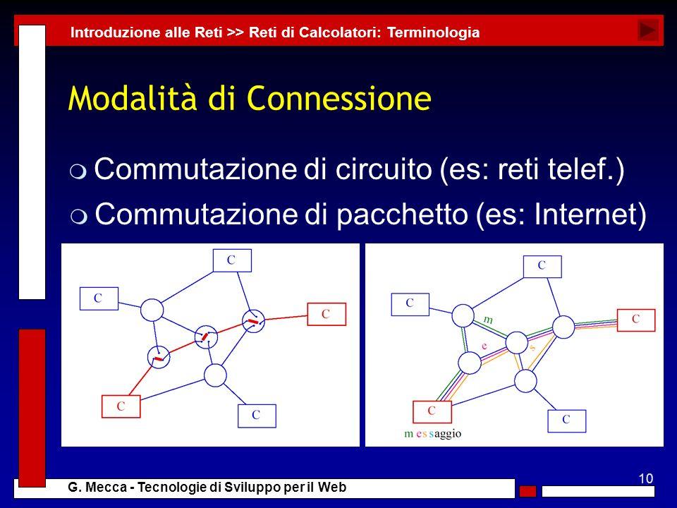 10 G. Mecca - Tecnologie di Sviluppo per il Web Modalità di Connessione m Commutazione di circuito (es: reti telef.) Introduzione alle Reti >> Reti di