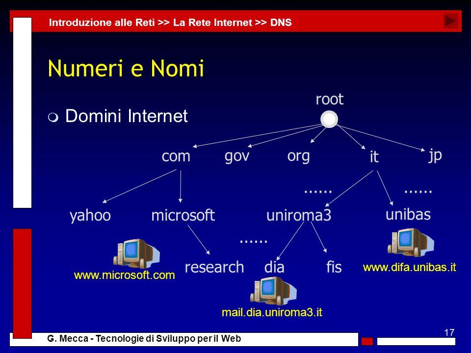 17 G. Mecca - Tecnologie di Sviluppo per il Web Numeri e Nomi m Domini Internet Introduzione alle Reti >> La Rete Internet >> DNS com govorg it jp uni