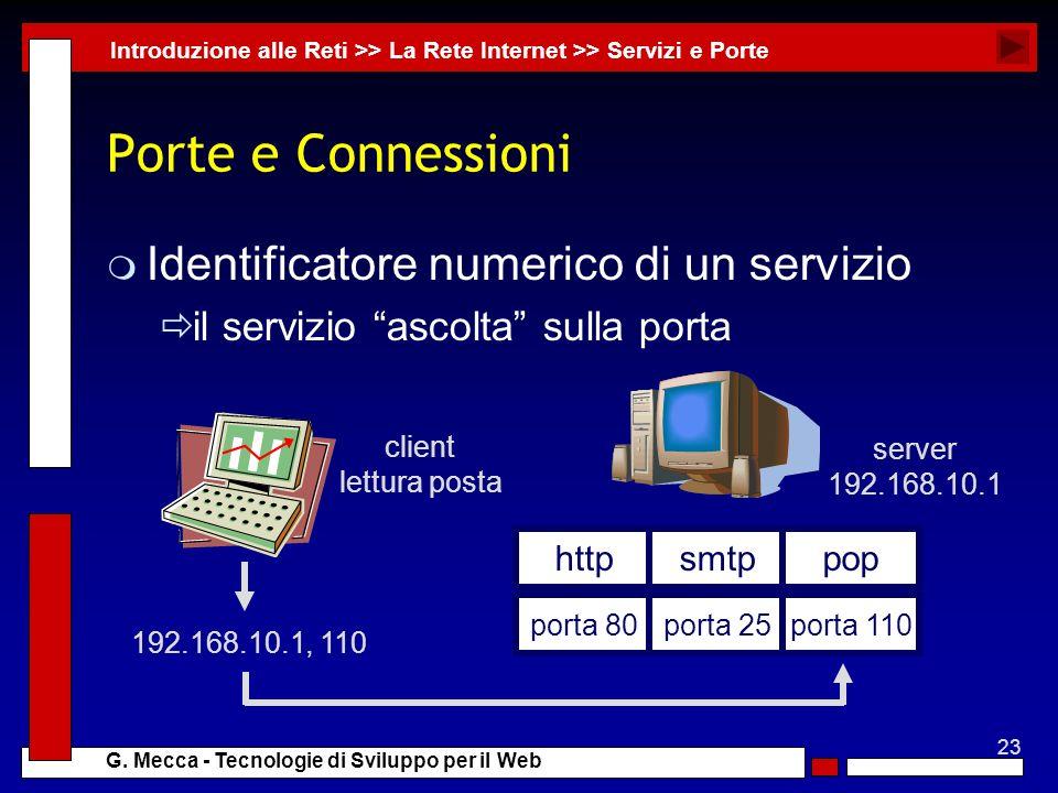 23 G. Mecca - Tecnologie di Sviluppo per il Web Porte e Connessioni m Identificatore numerico di un servizio il servizio ascolta sulla porta Introduzi