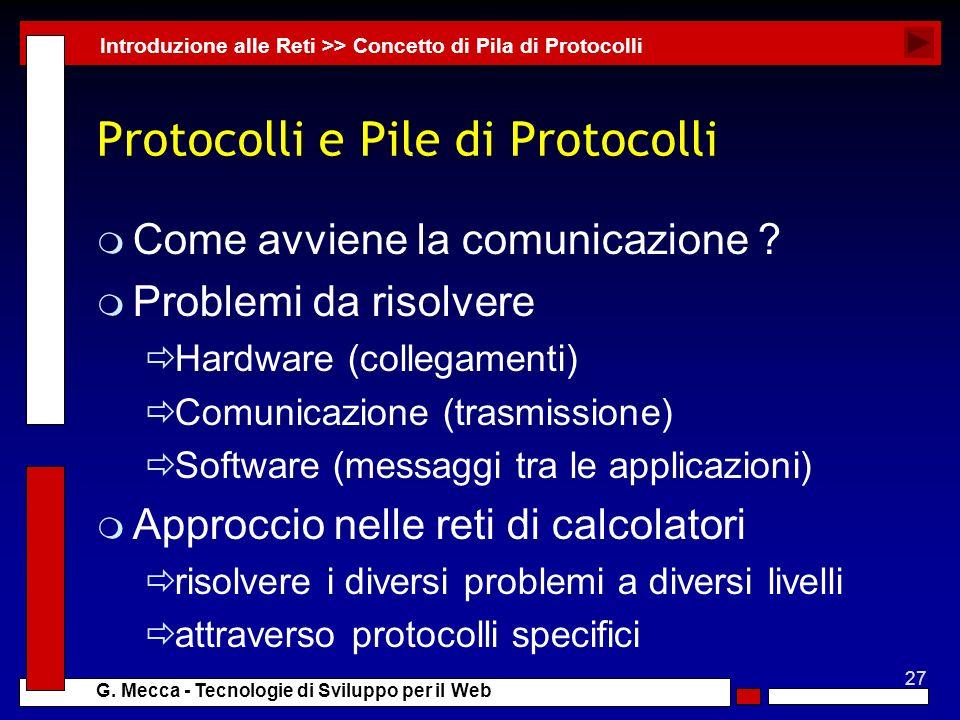 27 G. Mecca - Tecnologie di Sviluppo per il Web Protocolli e Pile di Protocolli m Come avviene la comunicazione ? m Problemi da risolvere Hardware (co