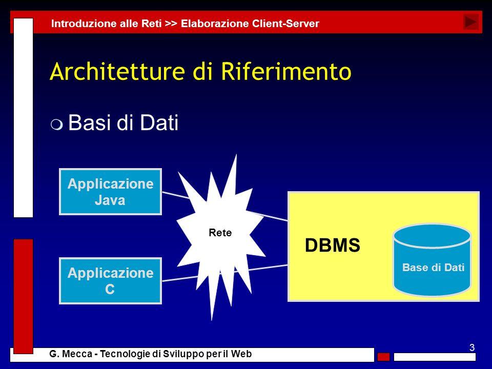 3 G. Mecca - Tecnologie di Sviluppo per il Web Architetture di Riferimento m Basi di Dati Introduzione alle Reti >> Elaborazione Client-Server Applica