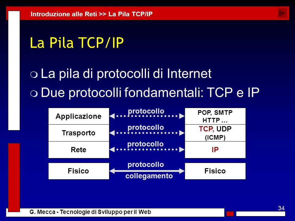 34 G. Mecca - Tecnologie di Sviluppo per il Web La Pila TCP/IP m La pila di protocolli di Internet m Due protocolli fondamentali: TCP e IP Introduzion