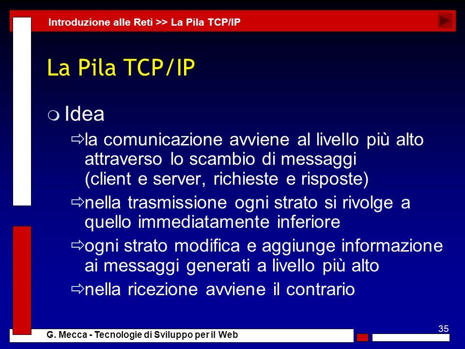 35 G. Mecca - Tecnologie di Sviluppo per il Web La Pila TCP/IP m Idea la comunicazione avviene al livello più alto attraverso lo scambio di messaggi (