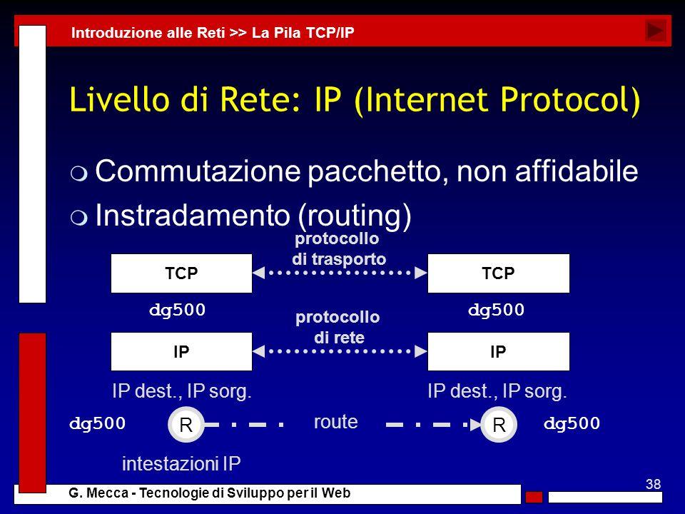 38 G. Mecca - Tecnologie di Sviluppo per il Web Livello di Rete: IP (Internet Protocol) m Commutazione pacchetto, non affidabile m Instradamento (rout