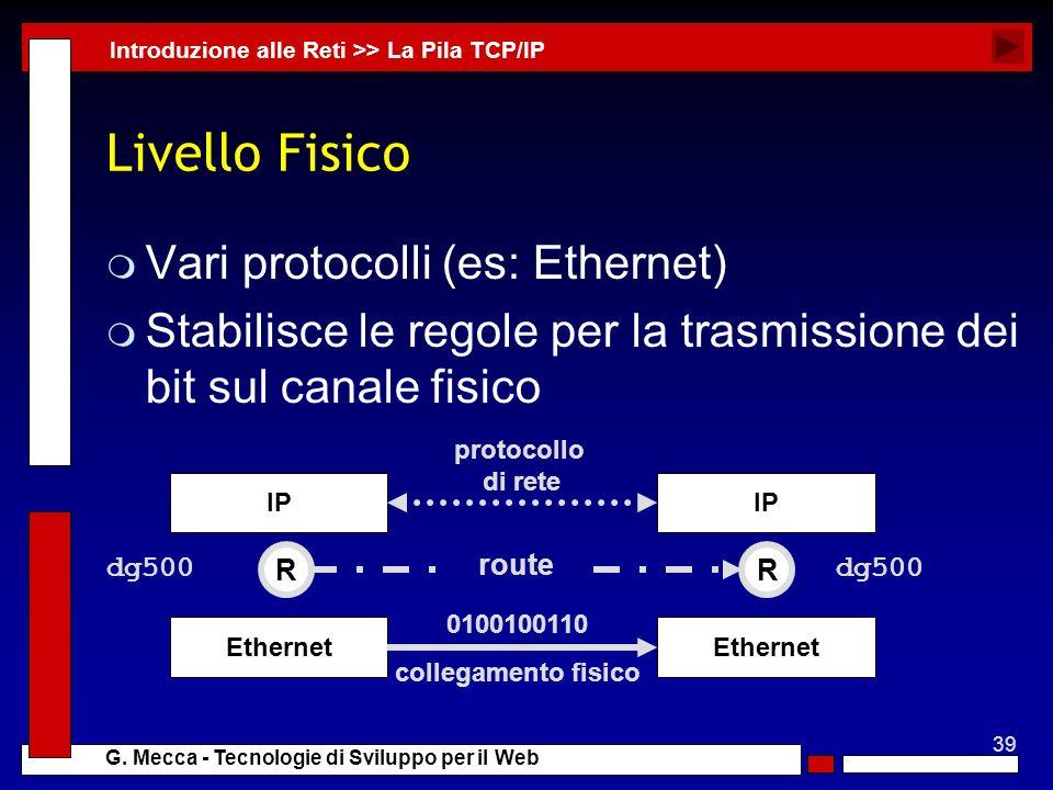 39 G. Mecca - Tecnologie di Sviluppo per il Web Livello Fisico m Vari protocolli (es: Ethernet) m Stabilisce le regole per la trasmissione dei bit sul