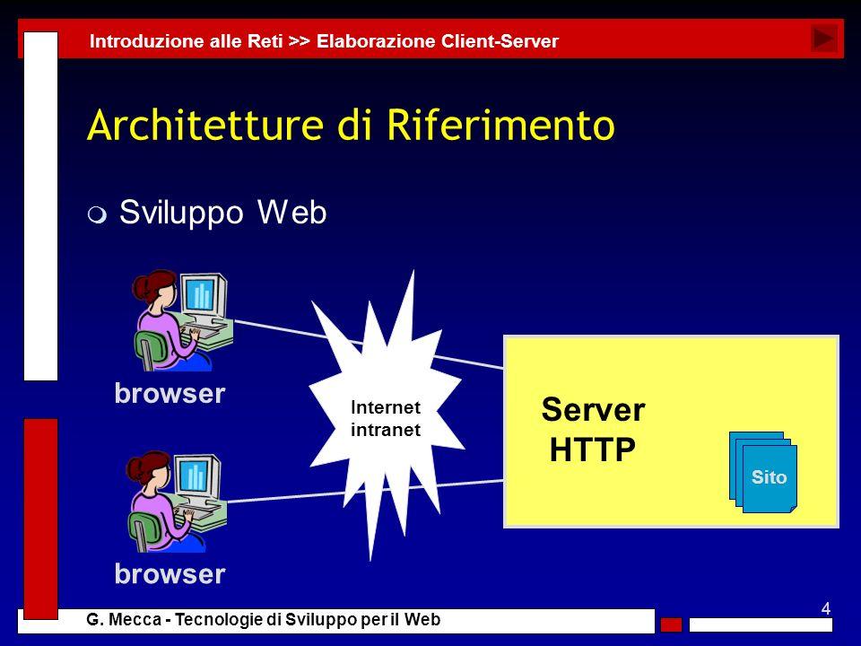 4 G. Mecca - Tecnologie di Sviluppo per il Web Architetture di Riferimento m Sviluppo Web Introduzione alle Reti >> Elaborazione Client-Server Sito Se