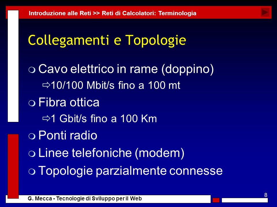 8 G. Mecca - Tecnologie di Sviluppo per il Web Collegamenti e Topologie m Cavo elettrico in rame (doppino) 10/100 Mbit/s fino a 100 mt m Fibra ottica