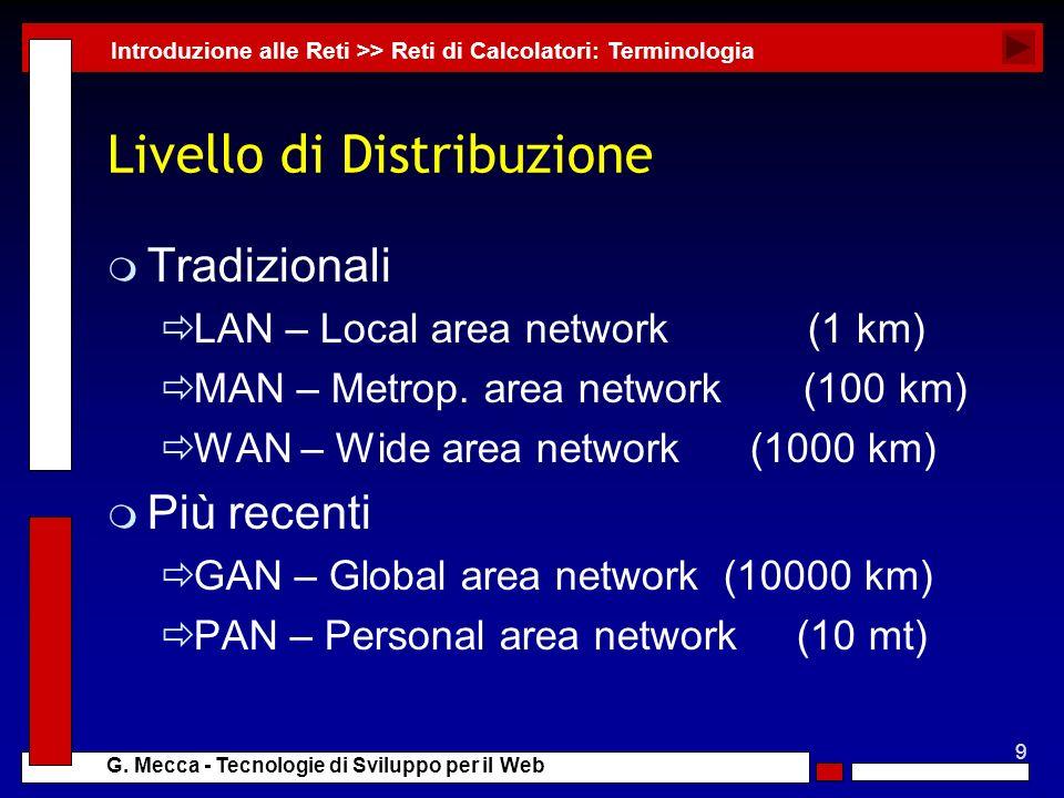 9 G. Mecca - Tecnologie di Sviluppo per il Web Livello di Distribuzione m Tradizionali LAN – Local area network (1 km) MAN – Metrop. area network (100