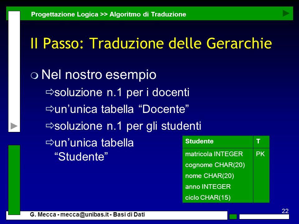 22 G. Mecca - mecca@unibas.it - Basi di Dati II Passo: Traduzione delle Gerarchie m Nel nostro esempio soluzione n.1 per i docenti ununica tabella Doc