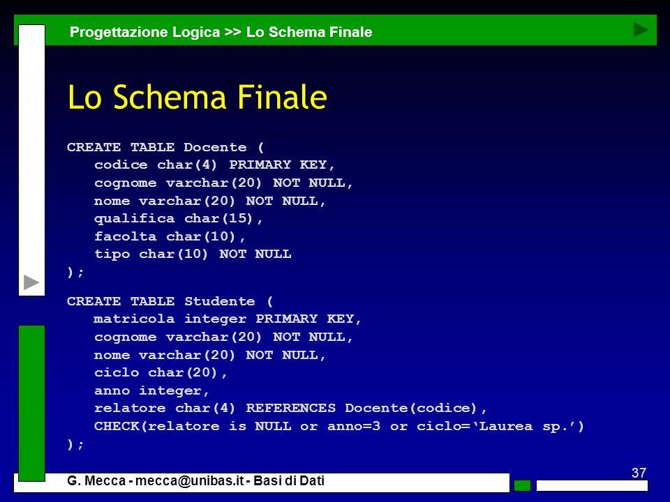 37 G. Mecca - mecca@unibas.it - Basi di Dati Progettazione Logica >> Lo Schema Finale CREATE TABLE Studente ( matricola integer PRIMARY KEY, cognome v