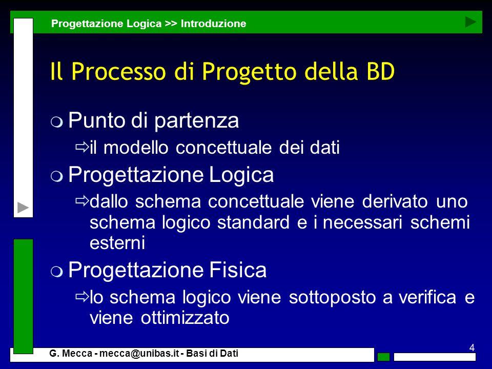 4 G. Mecca - mecca@unibas.it - Basi di Dati Il Processo di Progetto della BD m Punto di partenza il modello concettuale dei dati m Progettazione Logic