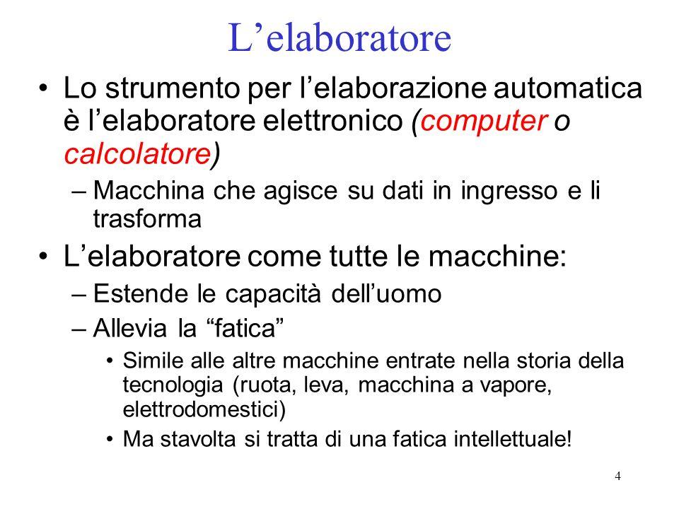 4 Lelaboratore Lo strumento per lelaborazione automatica è lelaboratore elettronico (computer o calcolatore) –Macchina che agisce su dati in ingresso
