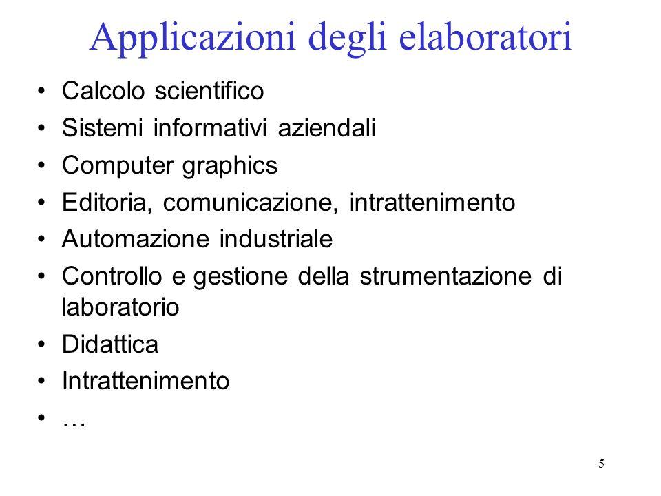5 Applicazioni degli elaboratori Calcolo scientifico Sistemi informativi aziendali Computer graphics Editoria, comunicazione, intrattenimento Automazi